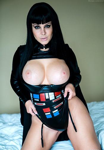 Hot emo woman in black latex