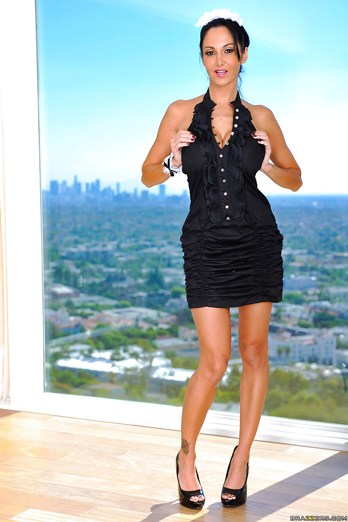 Attractive maid with long legs Ava Addams teases us with