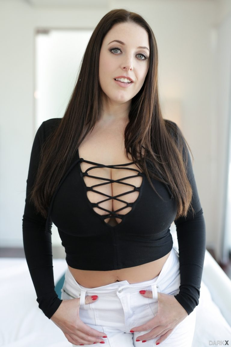 Busty Angela White poses with massive big tits bare in
